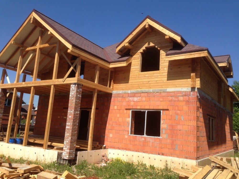 дом омбинированные дома построенный по проекту Вариант 12.8М Камень и Комбинированный фотография 5625
