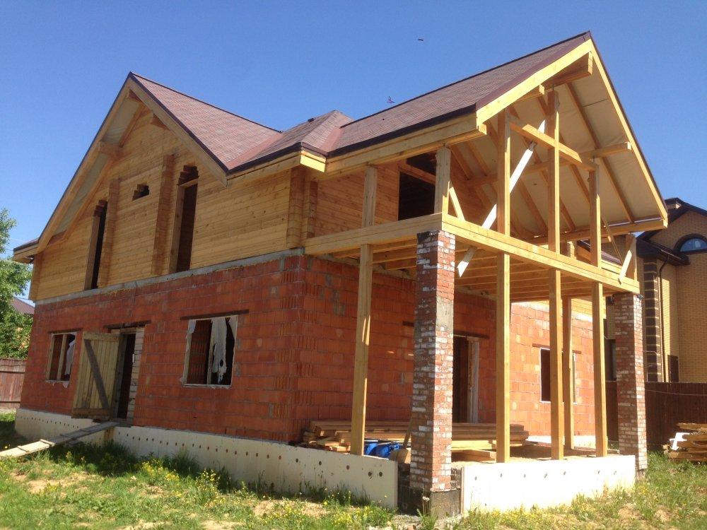 дом омбинированные дома построенный по проекту Вариант 12.8М Камень и Комбинированный фотография 5626