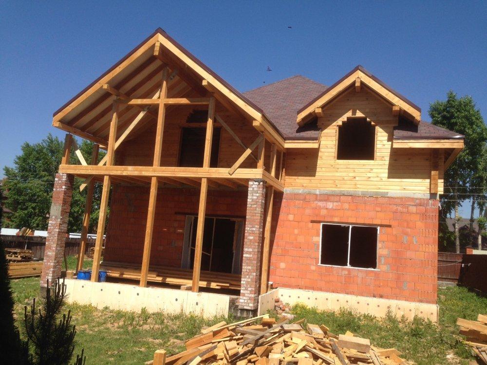 дом омбинированные дома построенный по проекту Вариант 12.8М Камень и Комбинированный фотография 5627