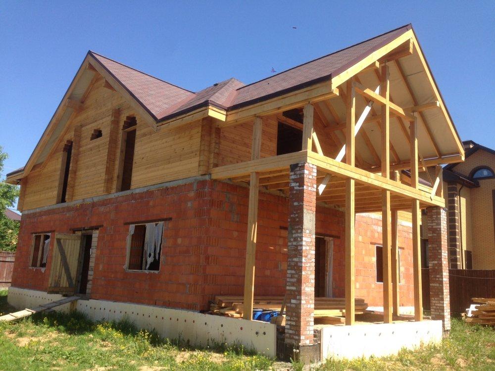 дом омбинированные дома построенный по проекту Вариант 12.8М Камень и Комбинированный фотография 5628
