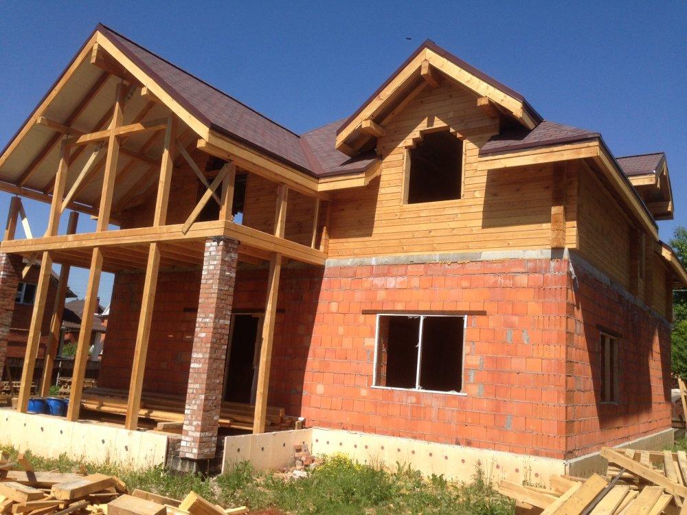 дом омбинированные дома построенный по проекту Вариант 12.8М Камень и Комбинированный фотография 5629