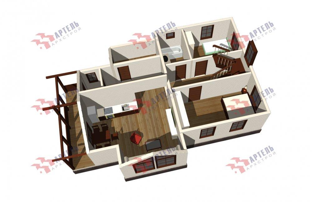 двухэтажный дом из бруса площадью от 100 до 150 кв. м., проект Вариант 13.3 А фотография 5229