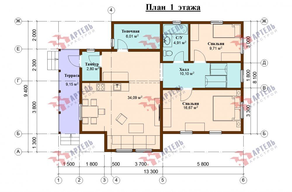двухэтажный дом из бруса площадью от 100 до 150 кв. м., проект Вариант 13.3 А фотография 5235