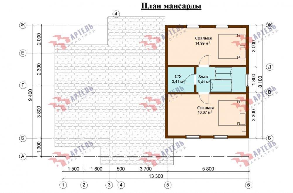 двухэтажный дом из бруса площадью от 100 до 150 кв. м., проект Вариант 13.3 А фотография 5236