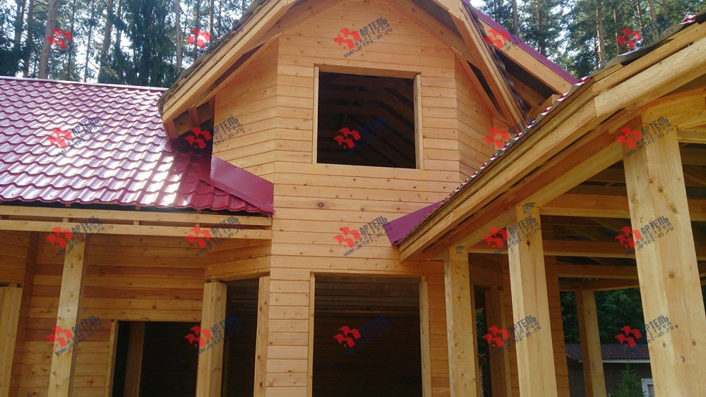 дом из профилированного бруса построенный по проекту Вариант 6.7 Б фотография 4605