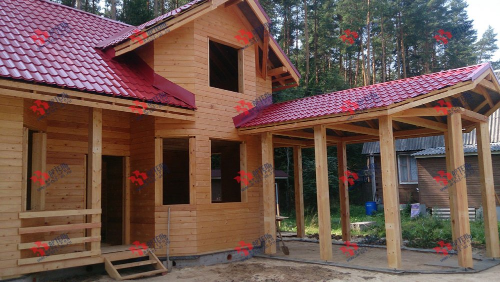дом из профилированного бруса построенный по проекту Вариант 6.7 Б фотография 4608