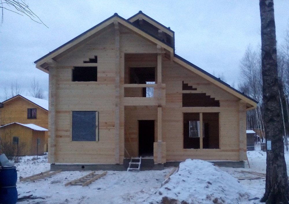 дом из профилированного бруса построенный по проекту Вариант 9.3 К фотография 4670