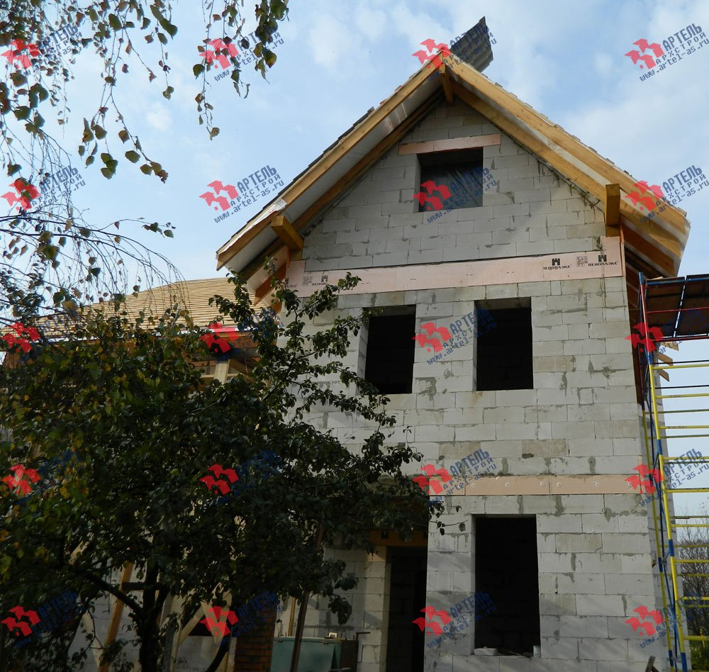 дом омбинированные дома построенный по проекту Вариант 24 фотография 2833