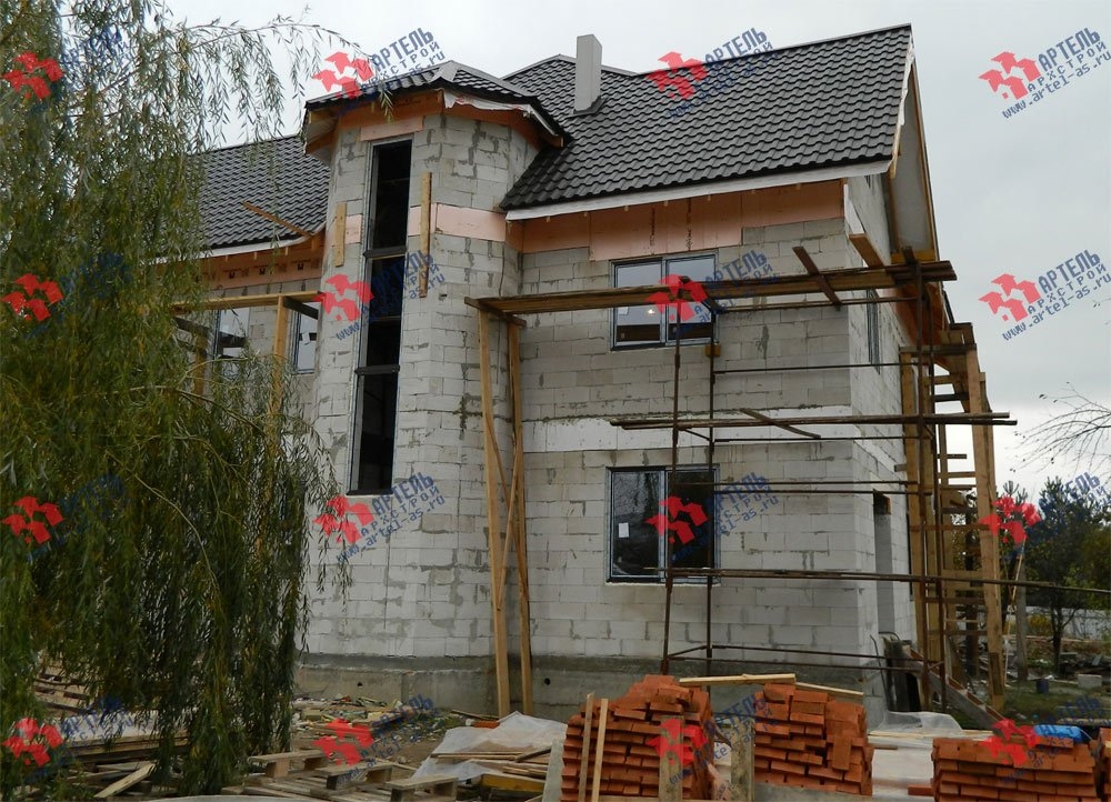 дом омбинированные дома построенный по проекту Вариант 24 фотография 2841