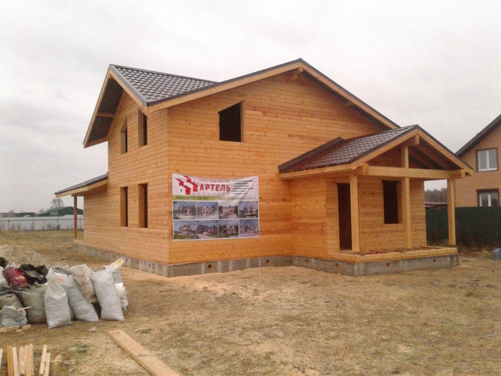 дом из профилированного бруса построенный по проекту Вариант 13.3 А фотография 5727