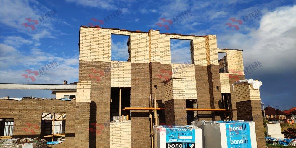 дом омбинированные дома построенный по проекту Вариант 18,4А Камень и Комбинированный фотография 6136
