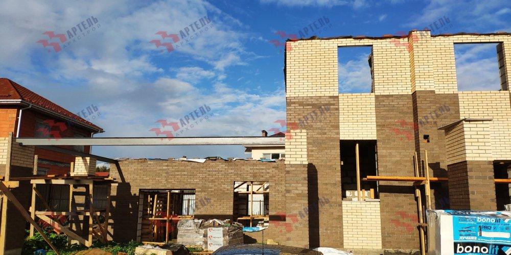 дом омбинированные дома построенный по проекту Вариант 18,4А Камень и Комбинированный фотография 6137