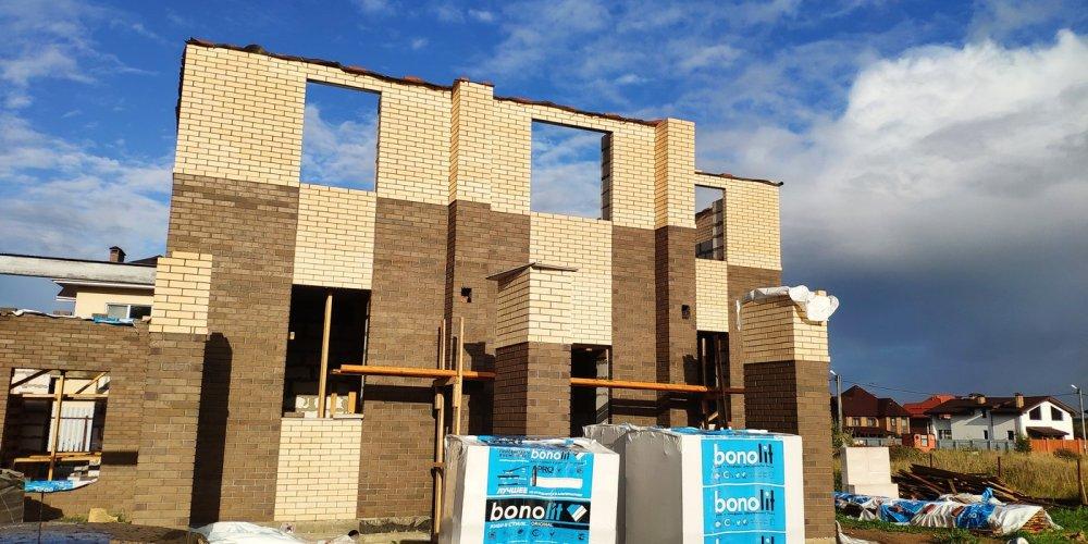 дом омбинированные дома построенный по проекту Вариант 18,4А Камень и Комбинированный фотография 6138