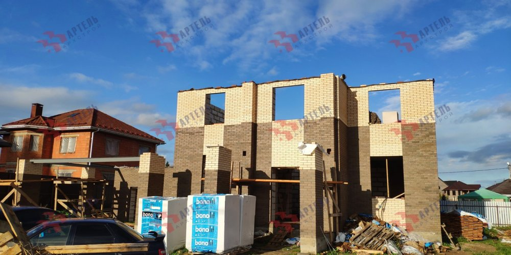 дом омбинированные дома построенный по проекту Вариант 18,4А Камень и Комбинированный фотография 6139
