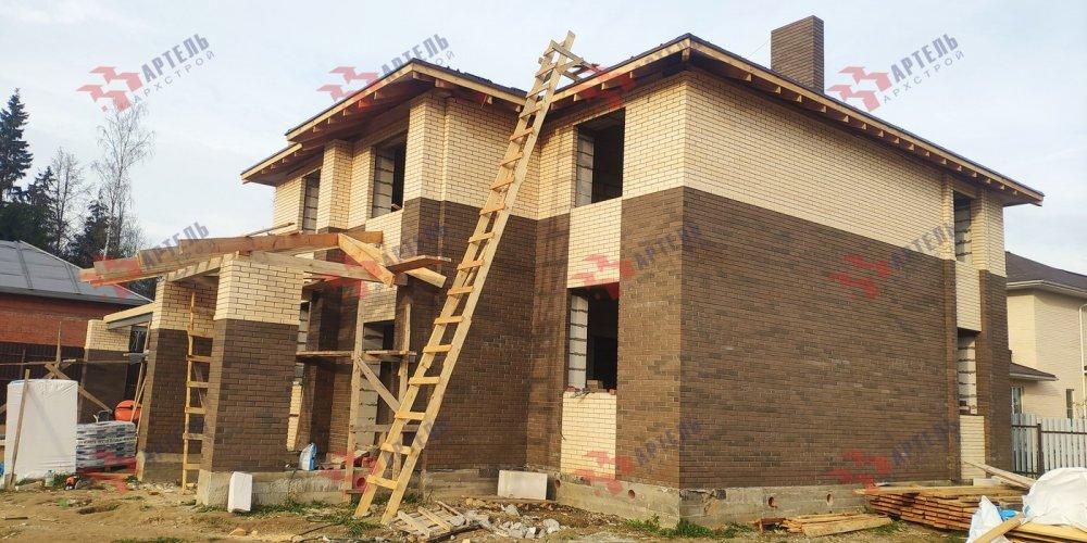 дом омбинированные дома построенный по проекту Вариант 18,4А Камень и Комбинированный фотография 6140