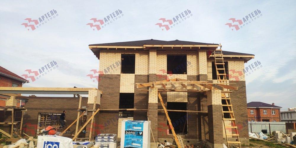 дом омбинированные дома построенный по проекту Вариант 18,4А Камень и Комбинированный фотография 6141