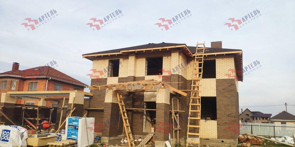 дом омбинированные дома построенный по проекту Вариант 18,4А Камень и Комбинированный фотография 6142