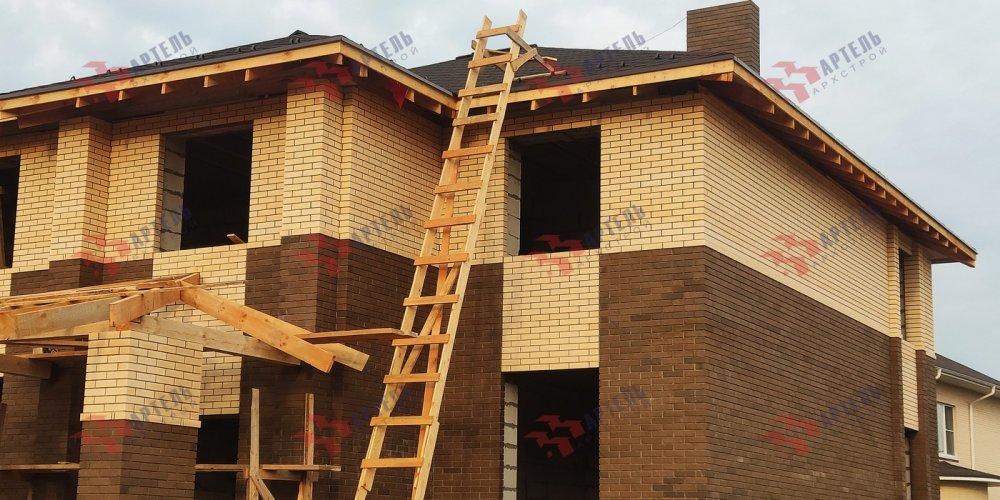 дом омбинированные дома построенный по проекту Вариант 18,4А Камень и Комбинированный фотография 6144