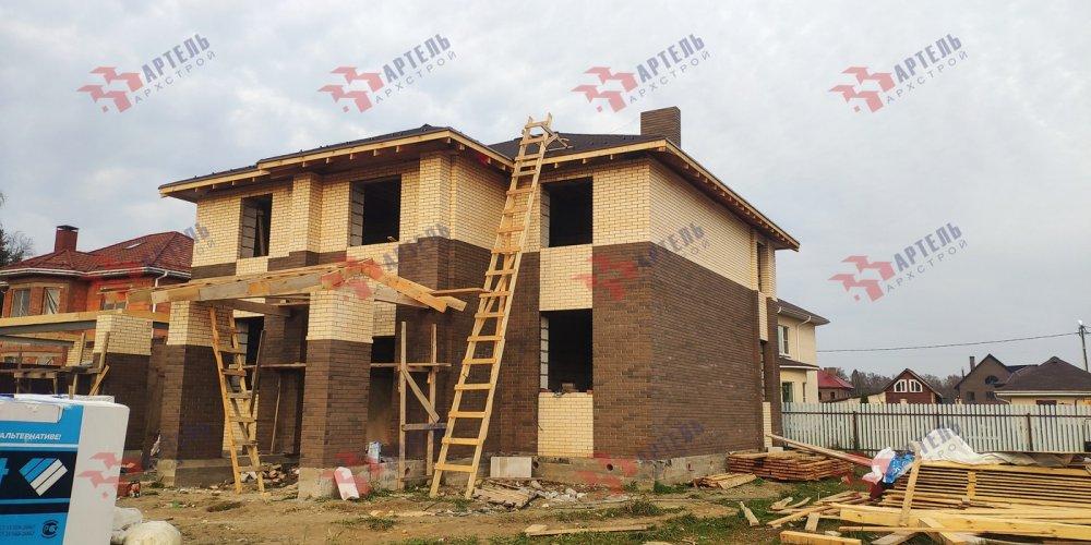 дом омбинированные дома построенный по проекту Вариант 18,4А Камень и Комбинированный фотография 6145