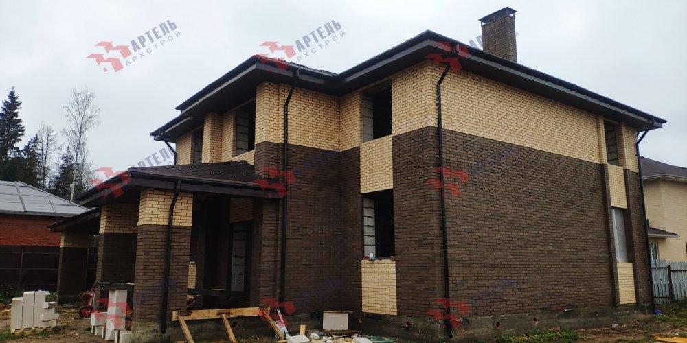 дом омбинированные дома построенный по проекту Вариант 18,4А Камень и Комбинированный фотография 6101
