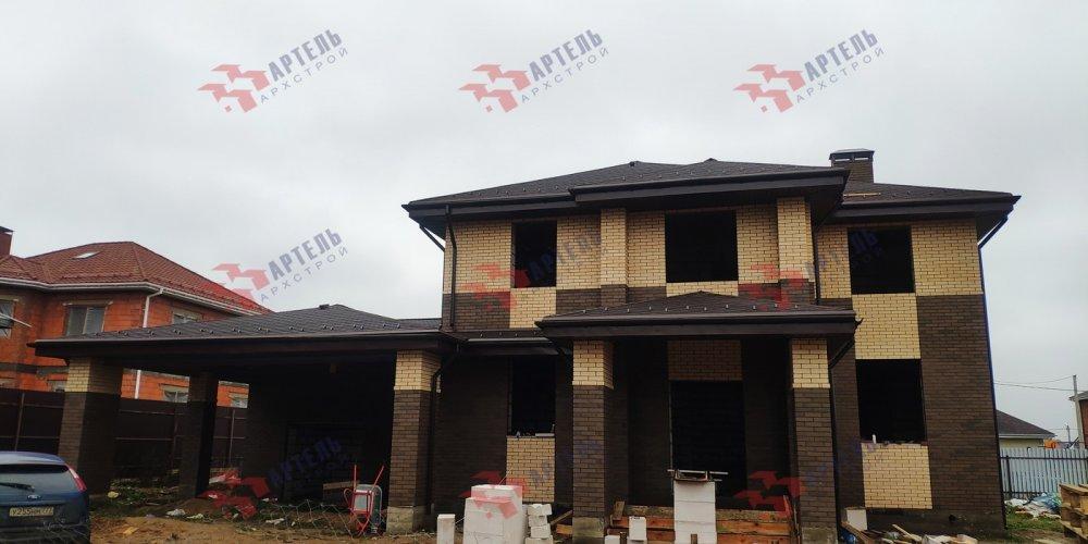 дом омбинированные дома построенный по проекту Вариант 18,4А Камень и Комбинированный фотография 6100