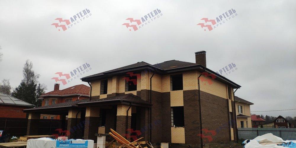 дом омбинированные дома построенный по проекту Вариант 18,4А Камень и Комбинированный фотография 6102